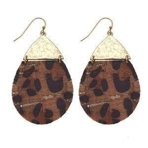 Leopard Distressed Cork Gold Drop Dangle Earrings